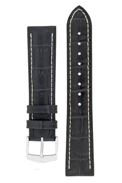 Hirsch GEORGE Alligator Embossed Performance Watch Strap in DARK BLUE