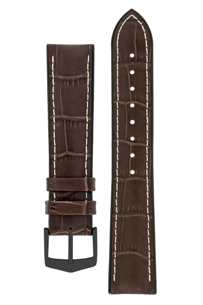 Hirsch George Alligator-Embossed Rubber-Lined Performance Watch Strap in Brown with White Stitch (with Black PVD-Coated Steel H-Classic Buckle)