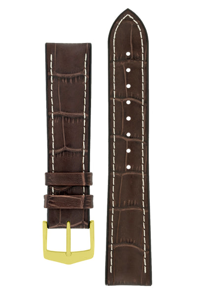 Hirsch George Alligator-Embossed Rubber-Lined Performance Watch Strap in Brown with White Stitch (with Polished Gold Steel H-Classic Buckle)