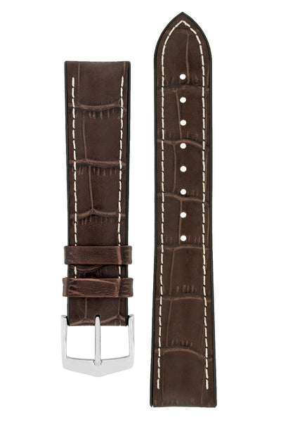 Hirsch George Alligator-Embossed Rubber-Lined Performance Watch Strap in Brown with White Stitch (with Polished Silver Steel H-Classic Buckle)