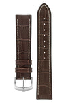 Hirsch George Alligator-Embossed Rubber-Lined Performance Watch Strap in Brown with White Stitch (with Brushed Silver Steel H-Classic Buckle)