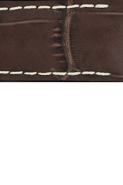 Hirsch George Alligator-Embossed Rubber-Lined Performance Watch Strap in Brown with White Stitch (Texture Detail)