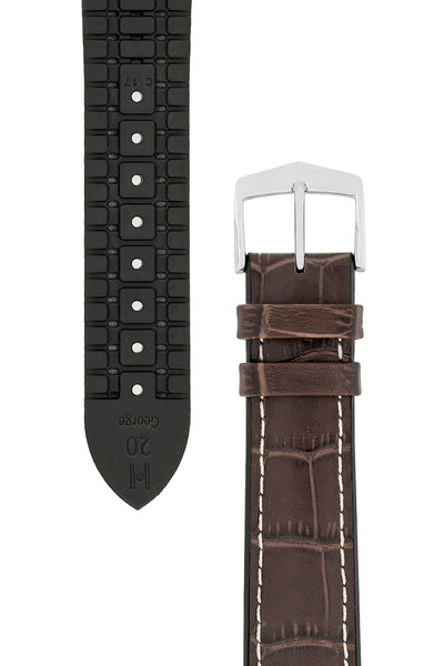 Hirsch George Alligator-Embossed Rubber-Lined Performance Watch Strap in Brown with White Stitch (Underside/Tapers)