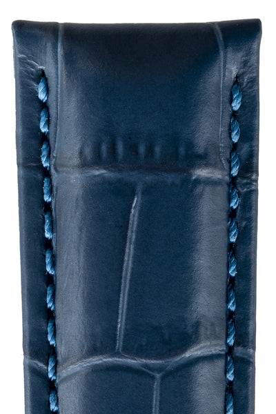 Close-up of GRAND DUKE Alligator-Embossed Calfskin Leather Watch Strap in Blue, by Hirsch