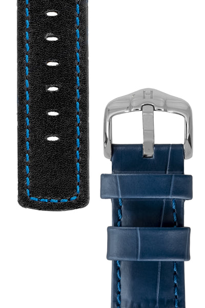 Underside and keepers of GRAND DUKE Alligator-Embossed Calfskin Leather Watch Strap in Blue, by Hirsch