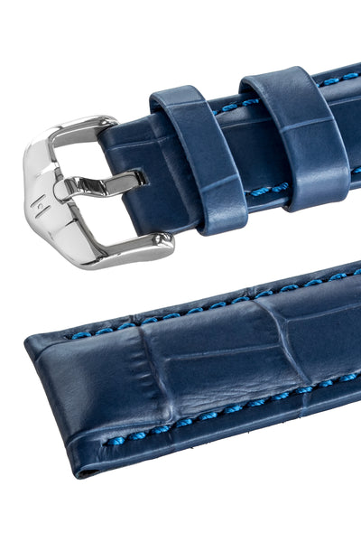 Three-quarter angle of GRAND DUKE Alligator-Embossed Calfskin Leather Watch Strap in Blue, by Hirsch