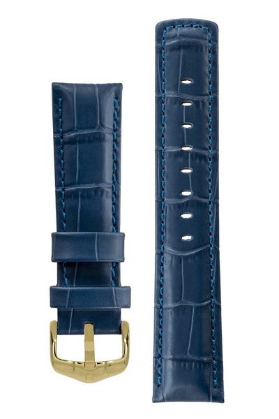 GRAND DUKE Alligator-Embossed Calfskin Leather Watch Strap in Blue with Polished Gold Buckle, by Hirsch