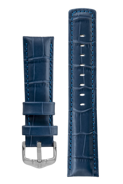 GRAND DUKE Alligator-Embossed Calfskin Leather Watch Strap in Blue with Polished Silver Buckle, by Hirsch