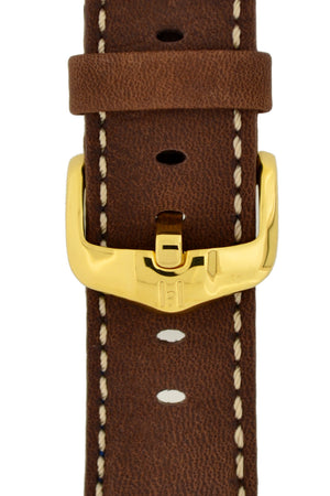 Hirsch H-Active Polished Stainless Steel Buckle in Gold-Tone (Example on Leather Watch Strap)