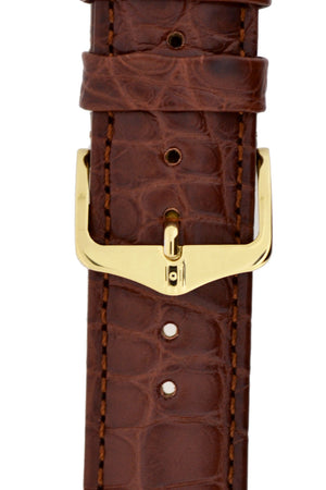 Hirsch H-Tradition Stainless Steel Buckle in Gold-Tone (Example on Leather Strap)