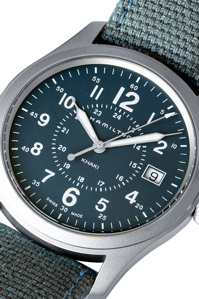 Hamilton H68201943 Khaki Field Quartz 38mm Watch with Blue Dial (Dial Detail)