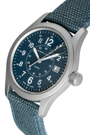Hamilton H68201943 Khaki Field Quartz 38mm Watch with Blue Dial (Three-Quarter Angle)