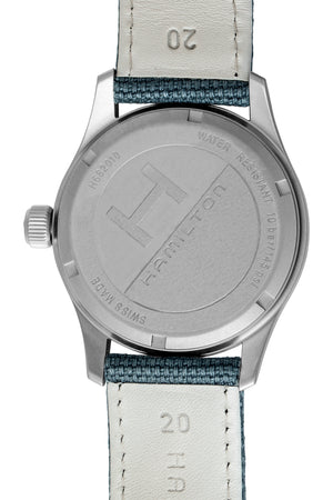 Hamilton H68201943 Khaki Field Quartz 38mm Watch with Blue Dial (Engraved Caseback)