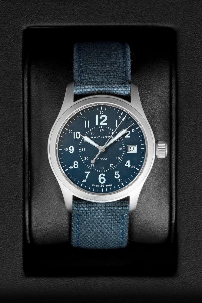 Hamilton H68201943 Khaki Field Quartz 38mm Watch with Blue Dial (In Original Box)