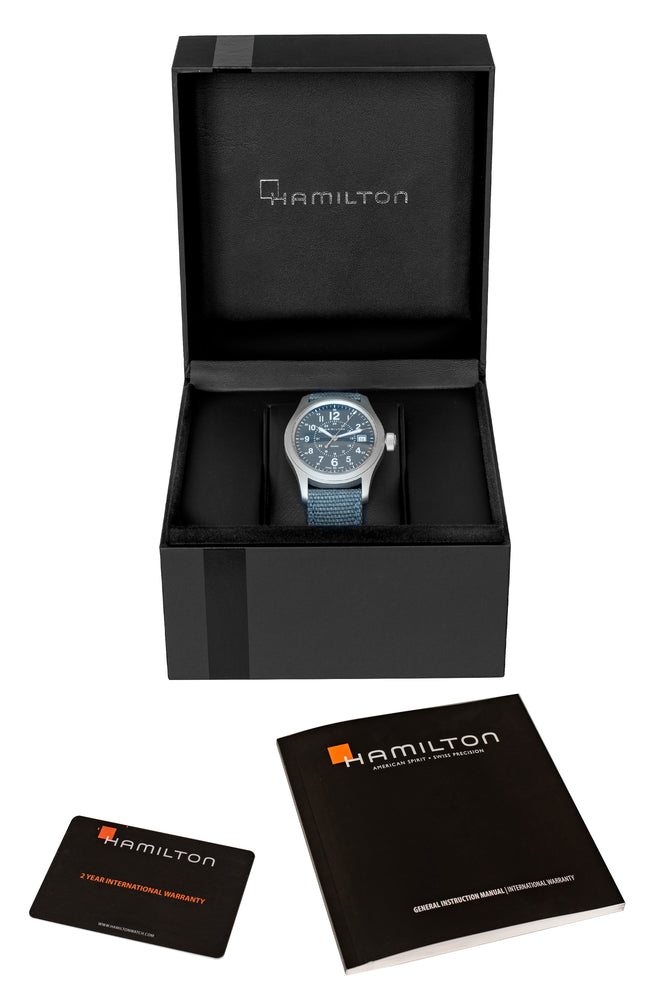 Hamilton H68201943 Khaki Field Quartz 38mm Watch with Blue Dial (Packaging Contents)