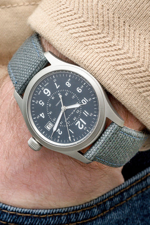 Hamilton H68201943 Khaki Field Quartz 38mm Watch with Blue Dial (Wrist Shot)
