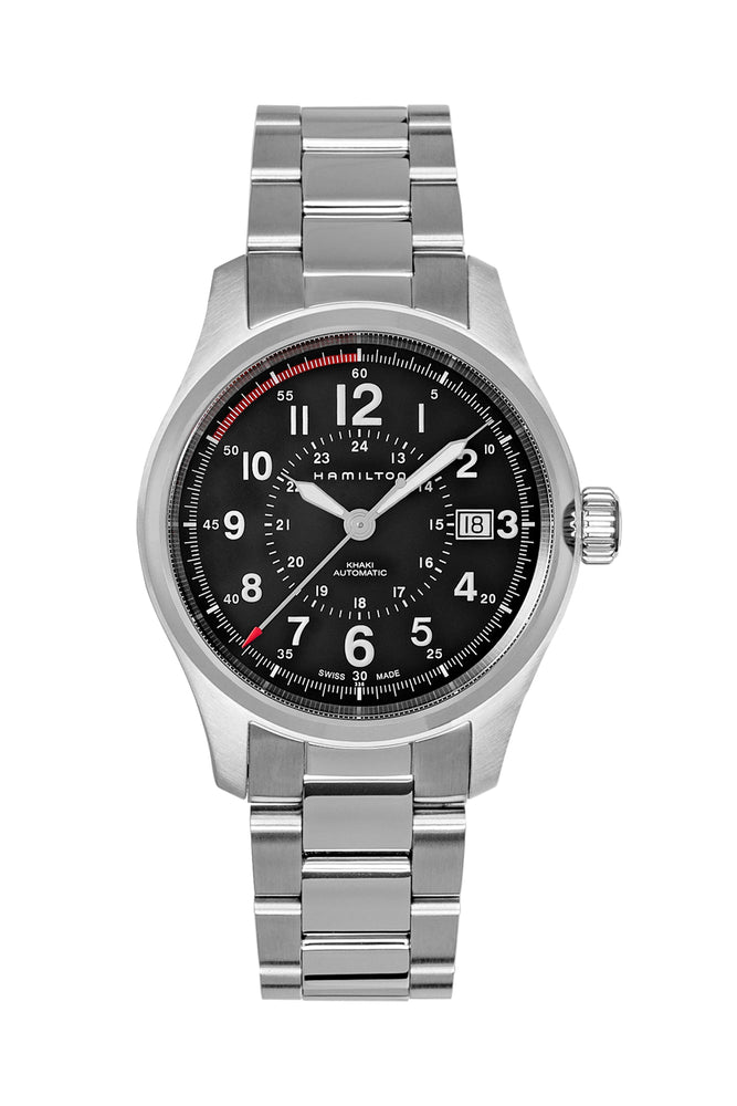 Load image into Gallery viewer, Hamilton H70595133 Khaki Field Auto 40mm Watch with Black Dial & Steel Bracelet