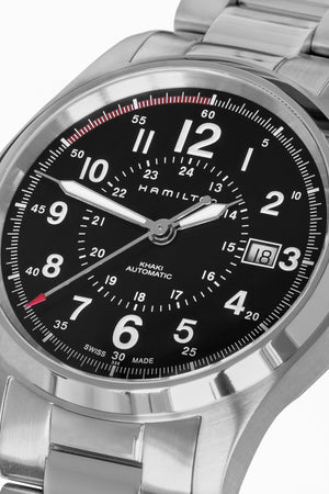 Load image into Gallery viewer, Hamilton H70595133 Khaki Field Auto 40mm Watch with Black Dial & Steel Bracelet (Dial Detail)