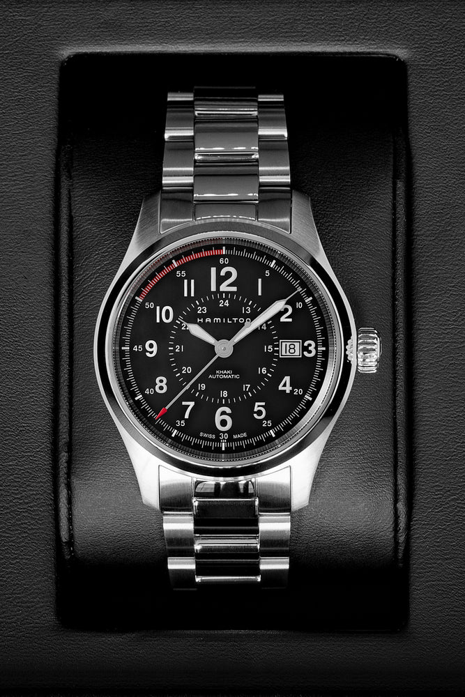 Load image into Gallery viewer, Hamilton H70595133 Khaki Field Auto 40mm Watch with Black Dial & Steel Bracelet (In Original Box)