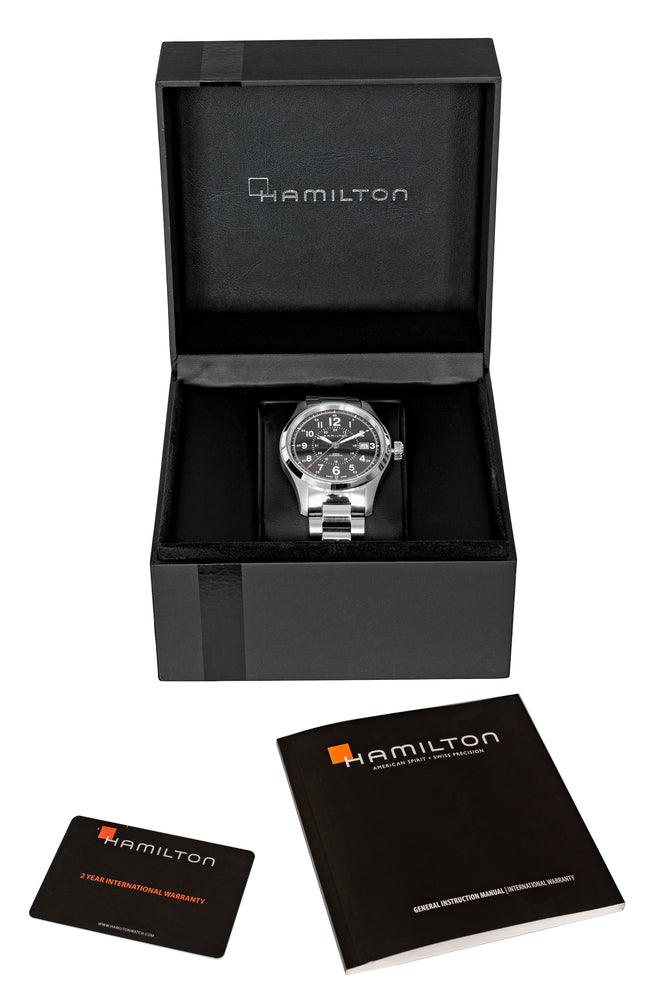 Hamilton H70595133 Khaki Field Auto 40mm Watch with Black Dial & Steel Bracelet (Packaging Contents)