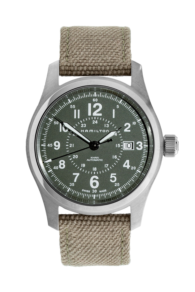 Load image into Gallery viewer, Hamilton H70605963 Khaki Field Auto 42mm Watch with Green Khaki Dial