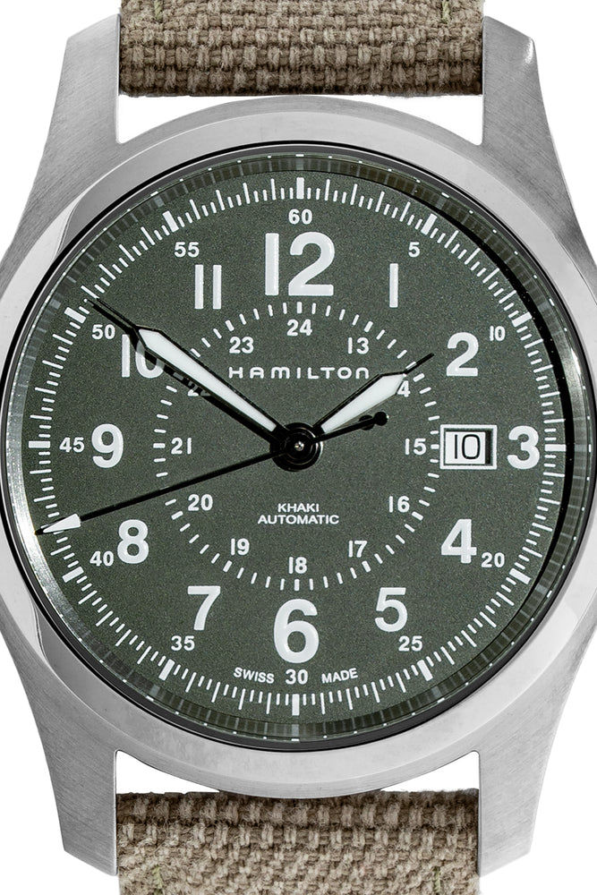 Load image into Gallery viewer, Hamilton H70605963 Khaki Field Auto 42mm Watch with Green Khaki Dial (Dial Detail)
