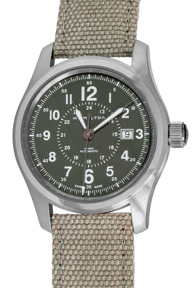 Load image into Gallery viewer, Hamilton H70605963 Khaki Field Auto 42mm Watch with Green Khaki Dial (Full Frontal)