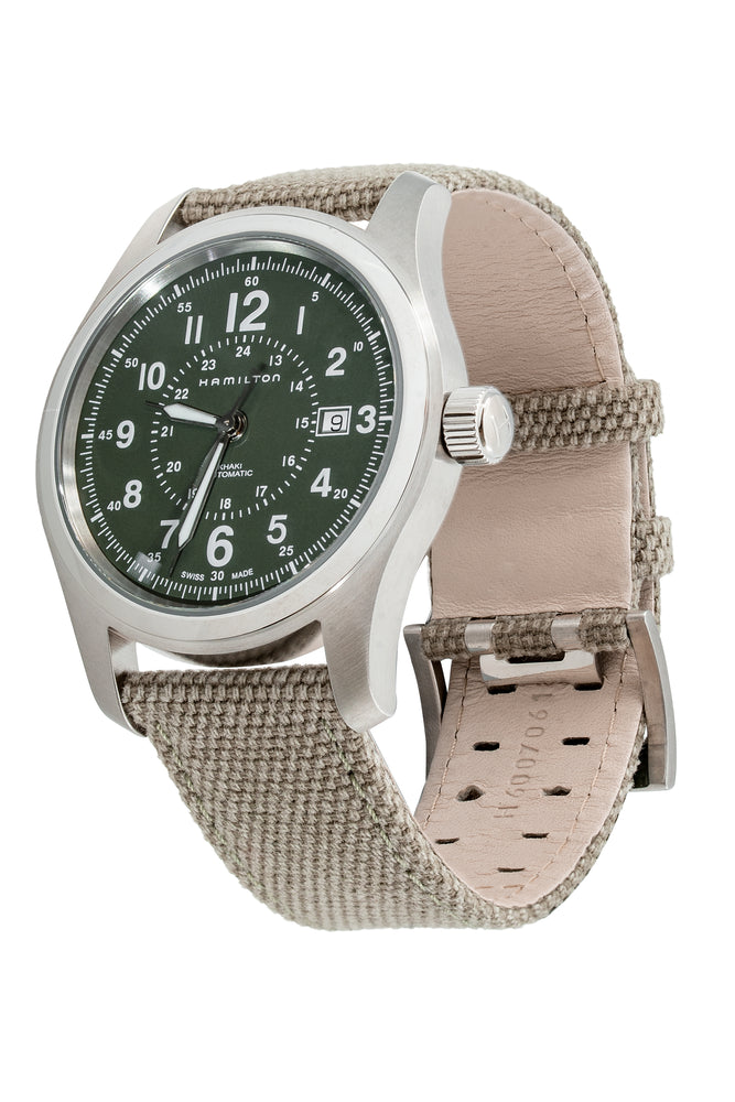 Load image into Gallery viewer, Hamilton H70605963 Khaki Field Auto 42mm Watch with Green Khaki Dial (Full Loop)