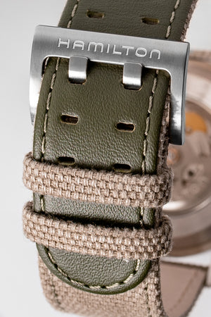 Load image into Gallery viewer, Hamilton H70605963 Khaki Field Auto 42mm Watch with Green Khaki Dial (Buckle Detail)