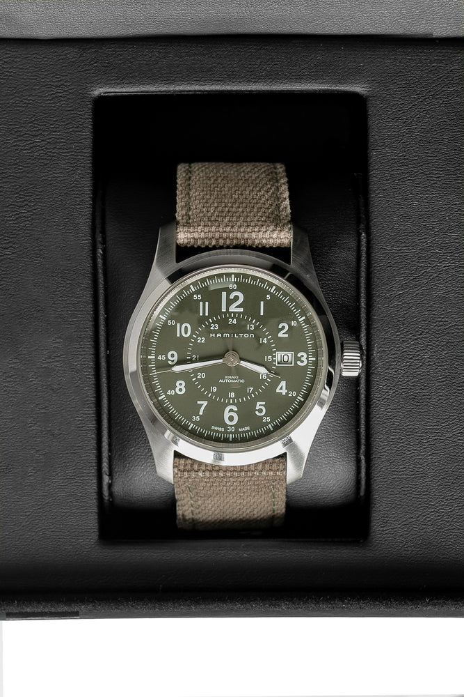 Load image into Gallery viewer, Hamilton H70605963 Khaki Field Auto 42mm Watch with Green Khaki Dial (In Original Box)
