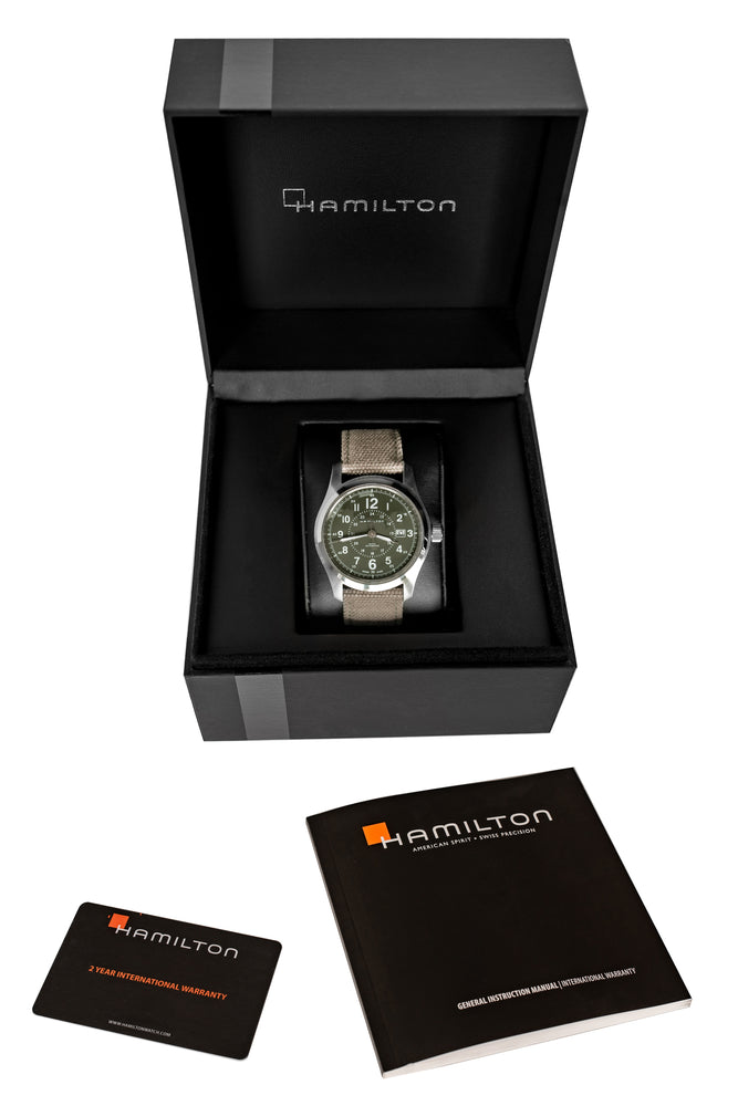Hamilton H70605963 Khaki Field Auto 42mm Watch with Green Khaki Dial (Packaging Contents)