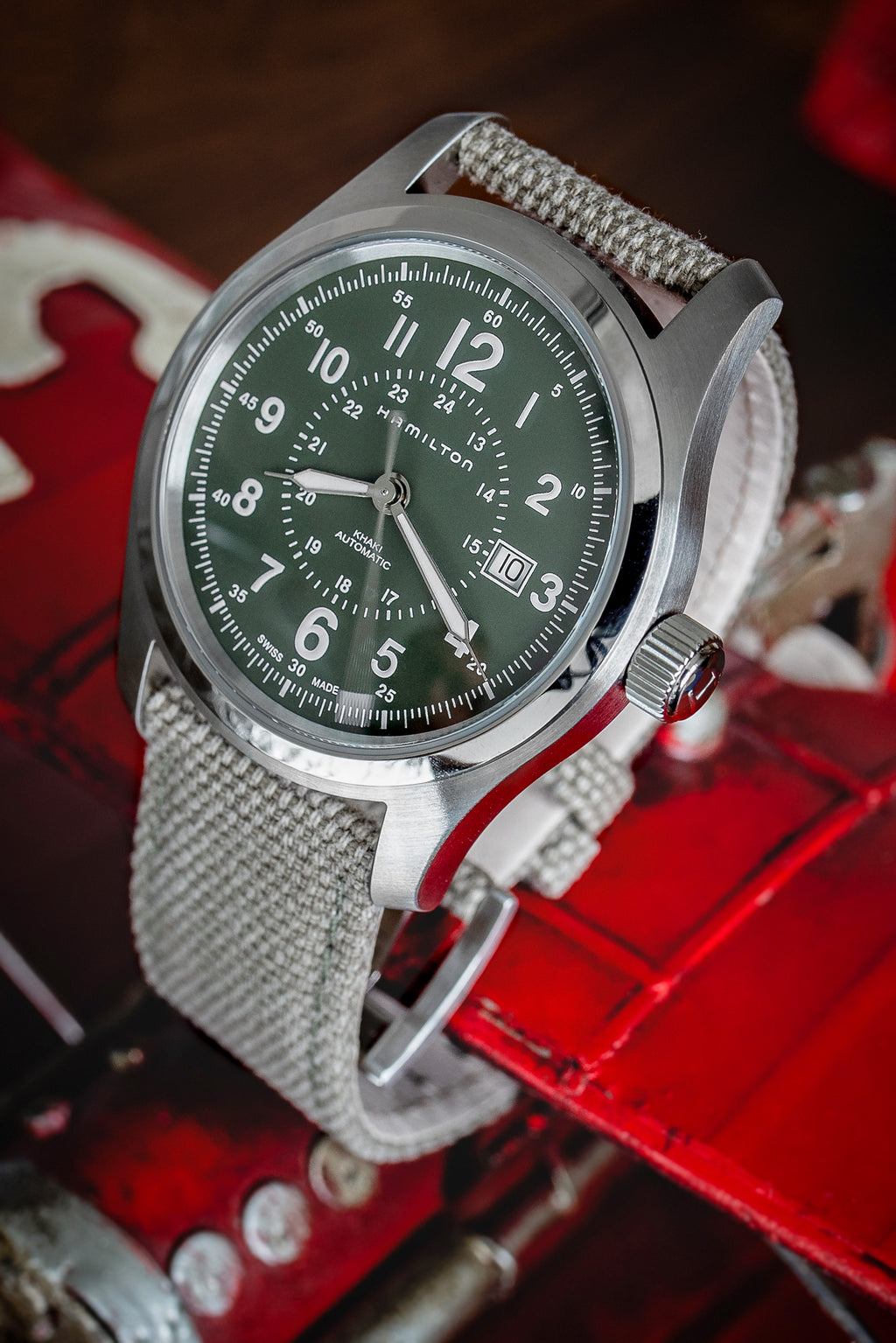 HAMILTON H70605963 Khaki Field Auto 42mm Watch - Green Khaki Dial
