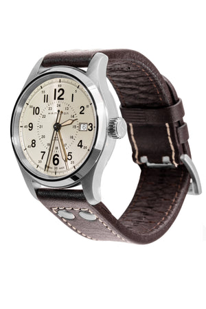 HAMILTON H70595523 Khaki Field Auto 40mm Watch - Cream Khaki Dial