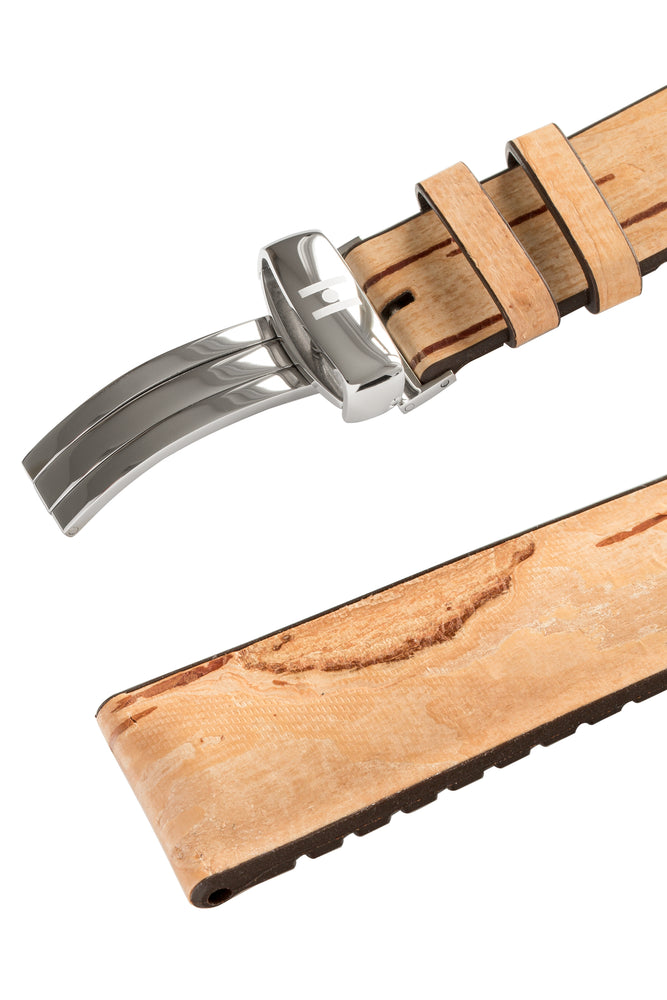Load image into Gallery viewer, Hirsch Birch Tree Bark Deployment Watch Strap in Beige (Keepers)
