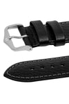 Hirsch FOREST Calf Leather Watch Strap in BLACK