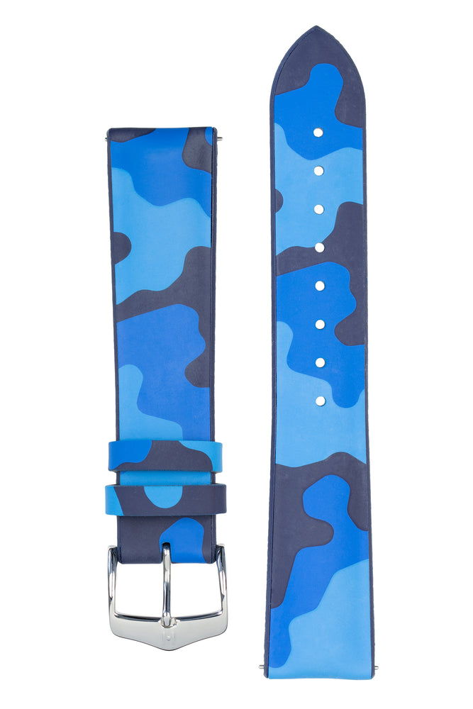 Hirsch JOHN Natural Rubber Performance Watch Strap in BLUE CAMOUFLAGE