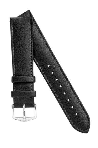 Hirsch KANSAS Buffalo-Embossed Calf Leather Watch Strap in BLACK