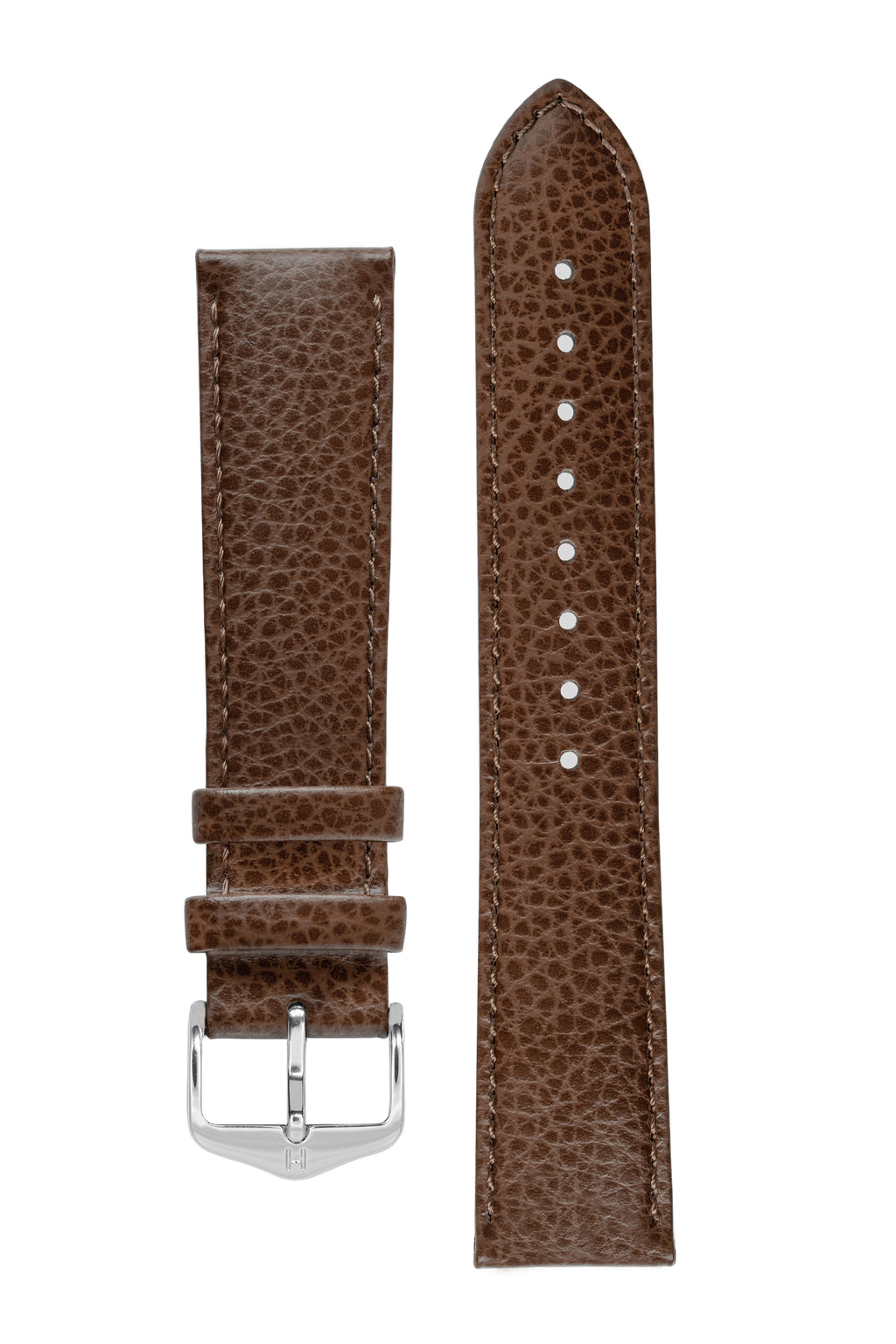Hirsch KANSAS Buffalo-Embossed Calf Leather Watch Strap in BROWN