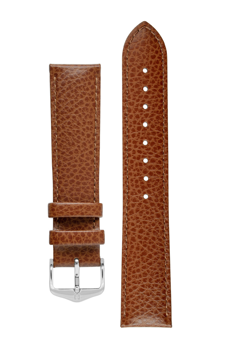 Hirsch KANSAS Buffalo-Embossed Calf Leather Watch Strap in GOLD BROWN