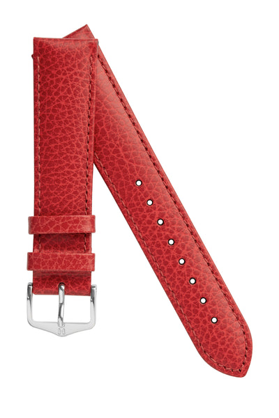 Hirsch Kansas Buffalo-Embossed Calf Leather Watch Strap in Red with Red Stitch