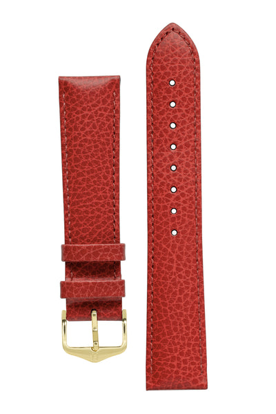 Hirsch Kansas Buffalo-Embossed Calf Leather Watch Strap in Red with Red Stitch (with Polished Gold Steel H-Tradition Buckle)