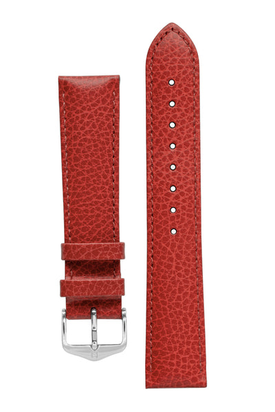 Hirsch Kansas Buffalo-Embossed Calf Leather Watch Strap in Red with Red Stitch (with Polished Silver Steel H-Tradition Buckle)