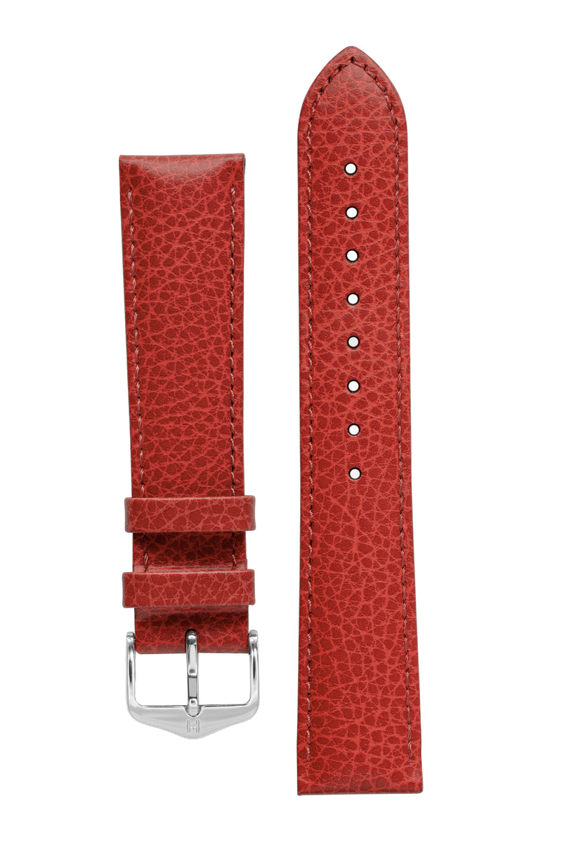 Hirsch KANSAS Buffalo-Embossed Calf Leather Watch Strap in RED