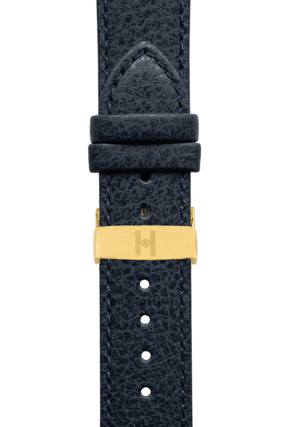 Hirsch KANSAS Buffalo-Embossed Calf Leather Watch Strap in BLUE