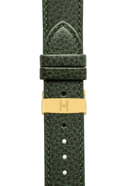 Hirsch KANSAS Buffalo-Embossed Calf Leather Watch Strap in GREEN