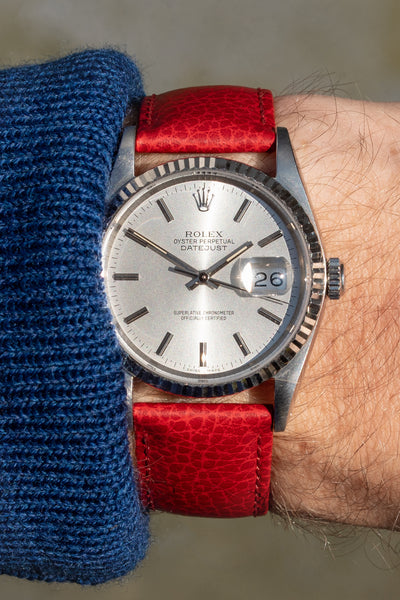 Hirsch Kansas Buffalo-Embossed Calf Leather Watch Strap in Red with Red Stitch (Promo Photo/Wrist Shot)