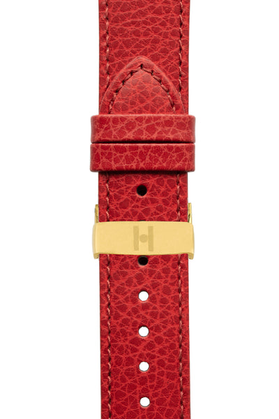 Hirsch Kansas Buffalo-Embossed Calf Leather Watch Strap in Red with Red Stitch (with Polished Gold Steel Sport Deployment Clasp)