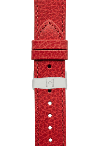 Hirsch Kansas Buffalo-Embossed Calf Leather Watch Strap in Red with Red Stitch (with Polished Silver Steel Sport Deployment Clasp)