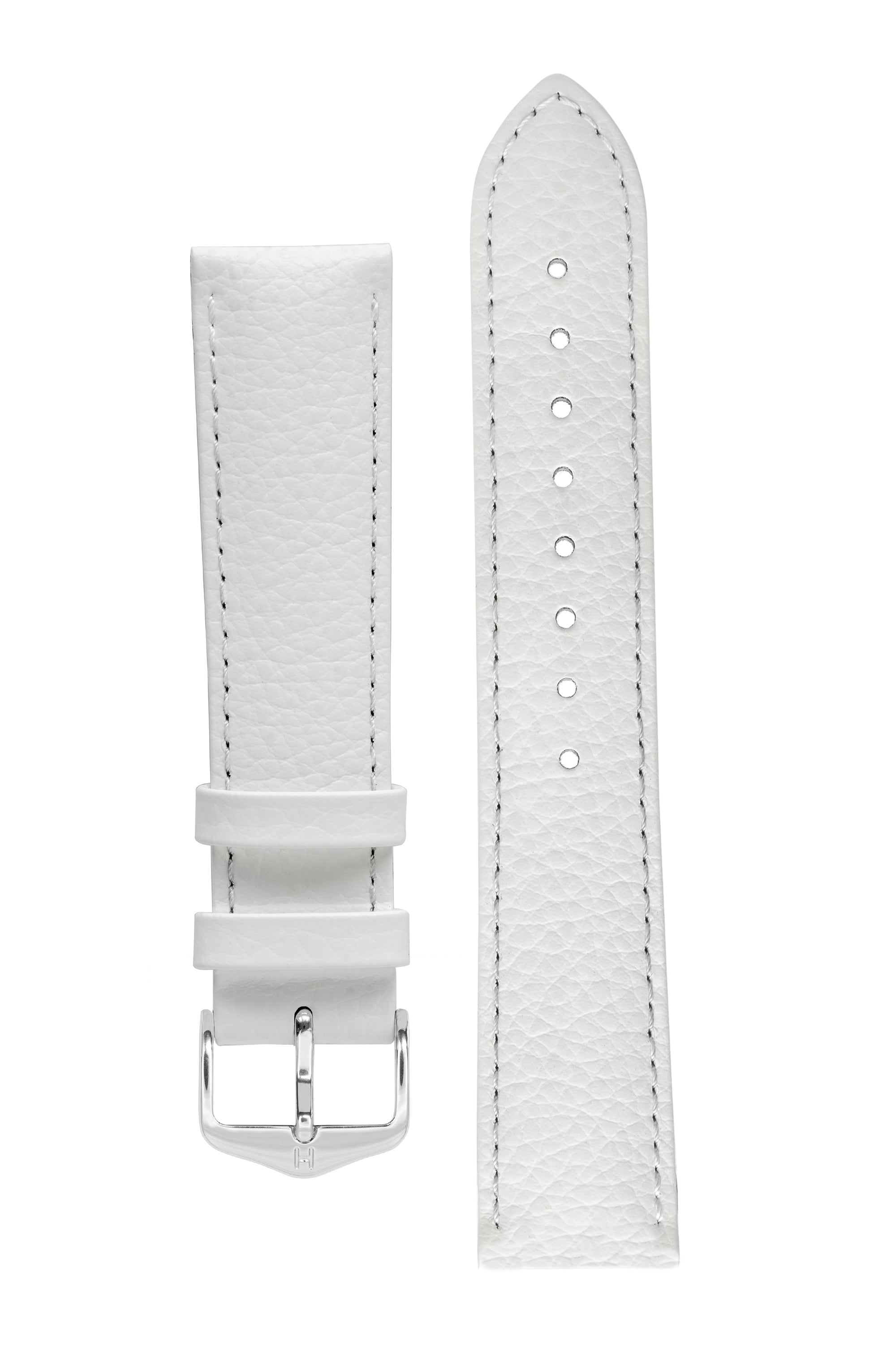 Hirsch KANSAS Buffalo-Embossed Calf Leather Watch Strap in WHITE