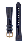 Hirsch LONDON Shiny Alligator Leather Watch Strap in BLUE